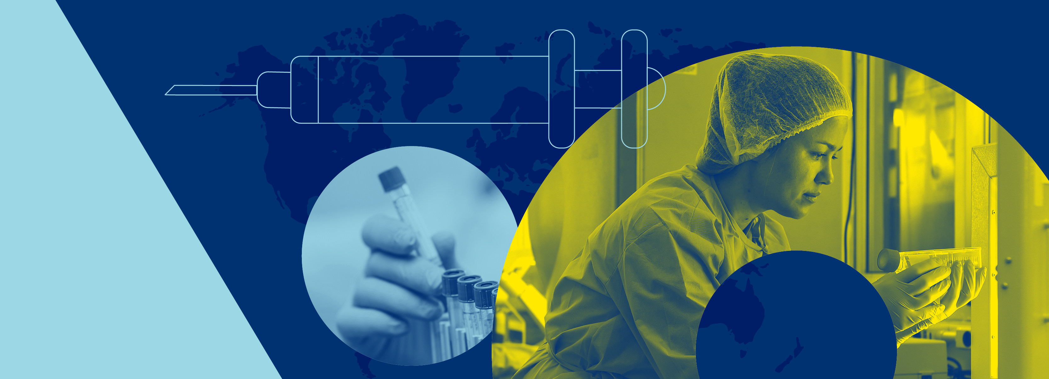 Graphic showing a vaccine, a hand holding a test tube and a biologist taking a coronavirus DNA sample from the freezer