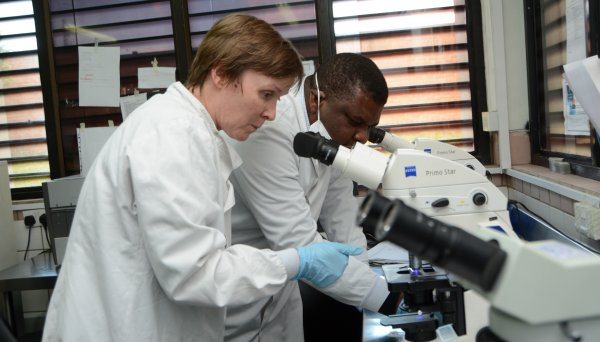 Liz Corbett and colleague. Liz is head of the HIV/TB research group at the Malawi-Liverpool-Wellcome Trust clinical research programme.