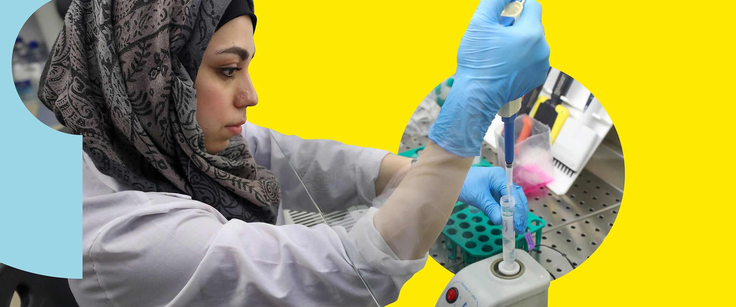 A researcher working with biomaterial in a lab. Composite image.