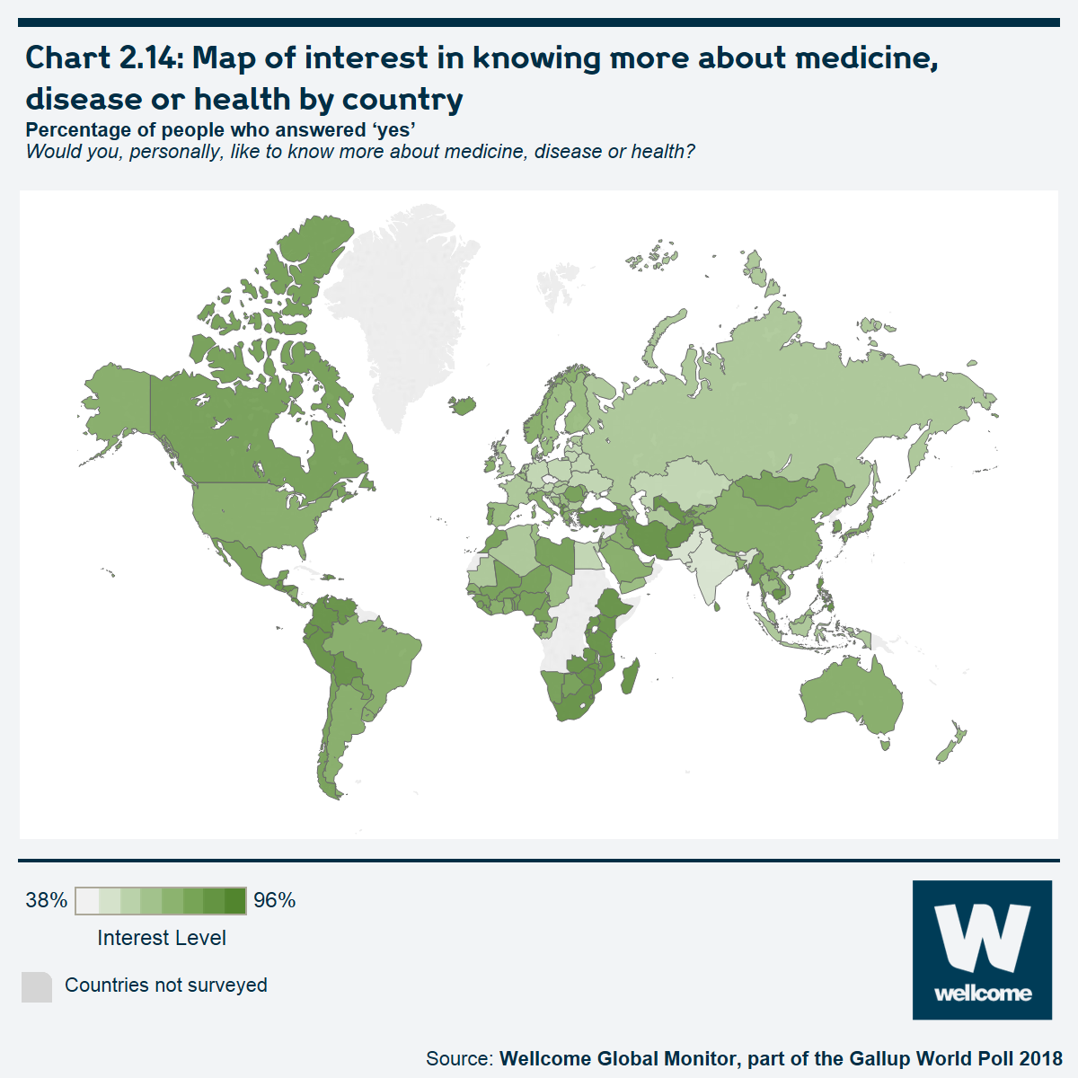 Chart 2.14 Map of interest in knowing more about medicine, disease or health by country