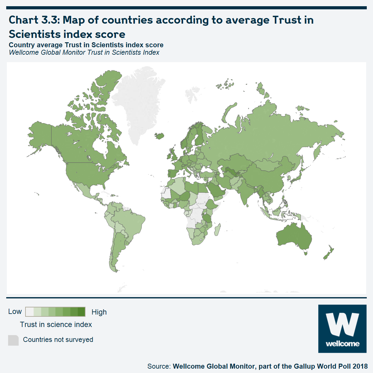Chart 3.3 Map of countries according to average Trust in Scientists Index score