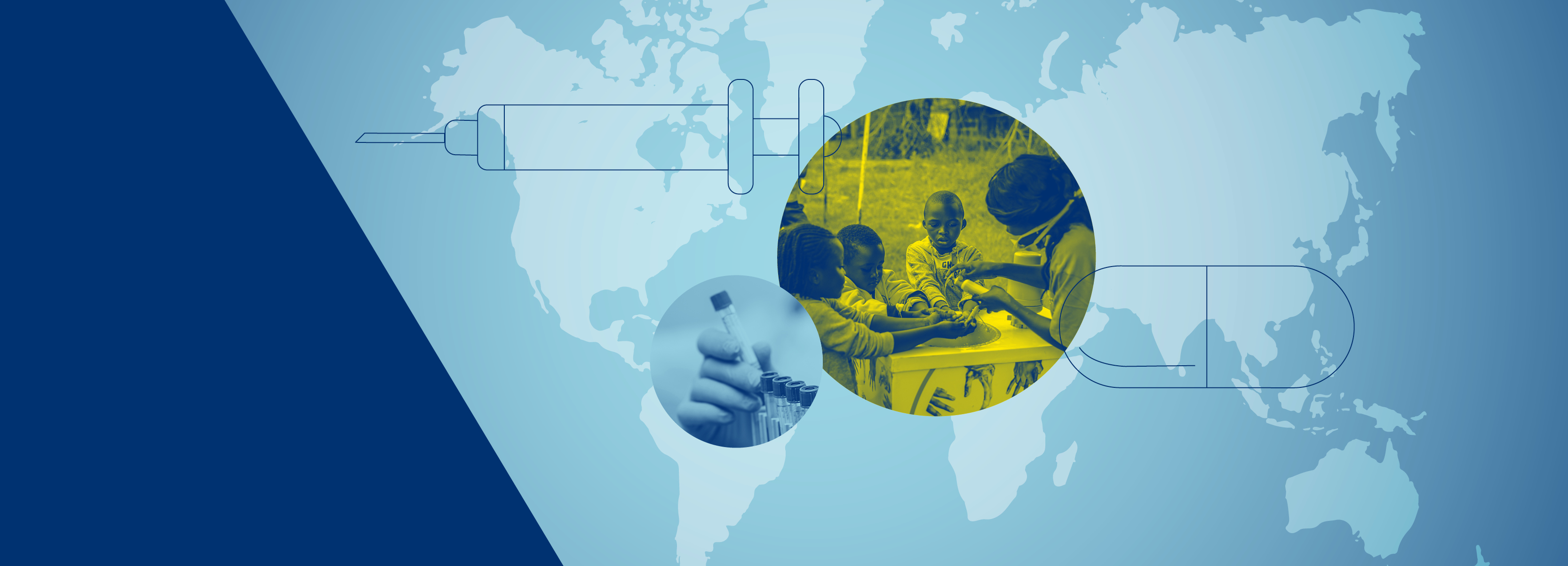 Graphic showing a map of the world, a hand holding a test tube and three children washing their hands