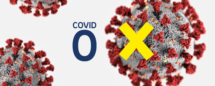 The letter X on top of a coronavirus, next to the word COVID and number zero.