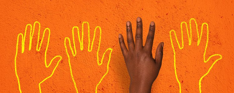 Hand and hand outlines on a bright orange background