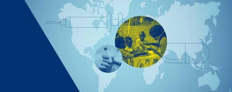 A map of the world, a hand holding a test tube and three children washing their hands