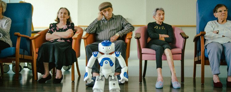 Zora the Robot Care-Giver helps people with communication and provides comfort and entertainment in a healthcare setting in France