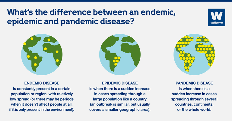 Infographic showing three globes with yellow circles representing the disease spread for an endemic, epidemic and pandemic disease.
