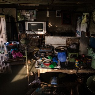 A room in a house that has flooded