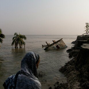 House submerged in Padma river because of land erosion