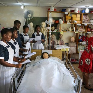 Second-year midwifery students preparing for a training session at a remote hospital