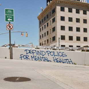 Graffiti near the Manhattan Bridge after protests over George Floyd's killing
