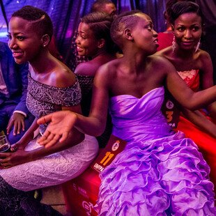 A group of contestants wait backstage at the Y+ Beauty Pageant, a contest developed for young people living with HIV in Uganda.