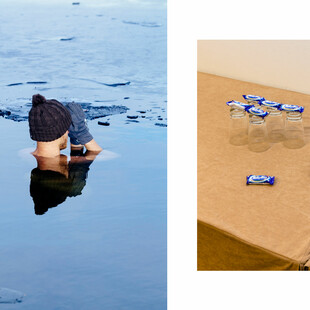 Two images showing a man submerging his body in freezing water, and Milky Way bars on a table.