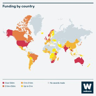 Grant funding data 2019-2020, map of funding by country.