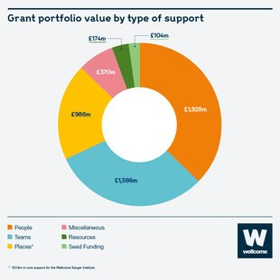 Pie chart showing grant portfolio value by type of support. £1586 million to Teams, £1928 million to People, £988 million to Places, £370 million to miscellaneous, £174 million to Resources, £104 million to seed funding
