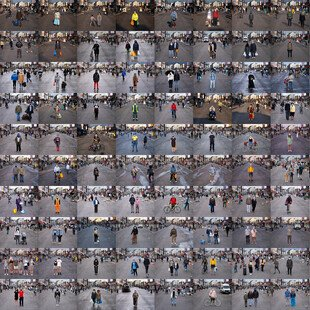 A grid of 100 portraits taken of masked pedestrians on London's Ridley Road.