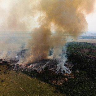 Aerial views of bush fires started by farmers in Kwilu province.
