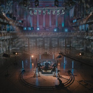 An organist practices in an empty concert hall, with no spectators allowed due to the pandemic.
