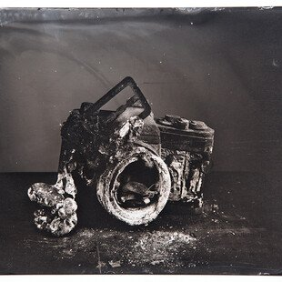 Tintype of a camera destroyed by a wildfire in California.