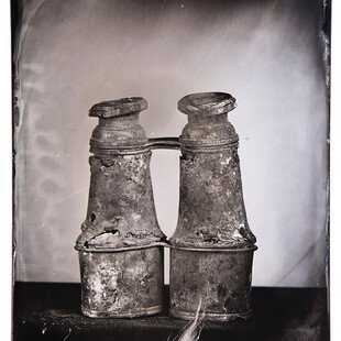Tintype of binoculars destroyed by a wildfire in California.