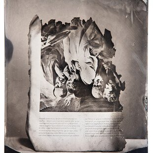 Tintype of a page of an art book burned in a wildfire in California.
