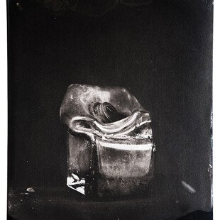 Tintype of a glass vase destroyed by a wildfire in California.