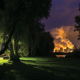 TheJänschwaldelignite power plant in Peitz, Germany emits smoke while burning lignite (brown coal).