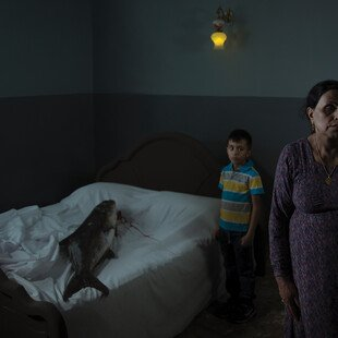 A woman and her son stand in a room, a big fish on the bed.