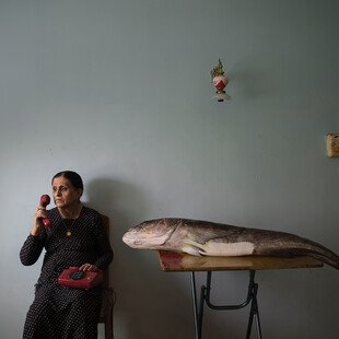 A woman holds a telephone to her ear, a big fish on the table beside her.