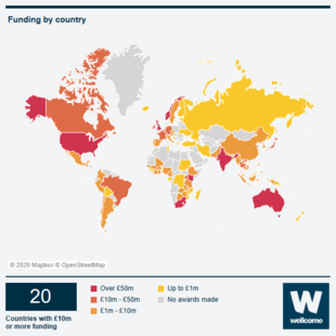 Map of the world showing the countries we fund.