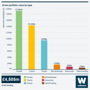 Infographic showing our grant portfolio value by type