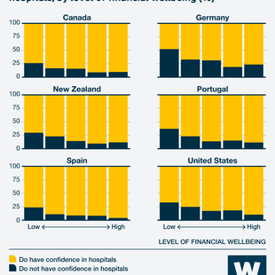 Infographic showing Share of people who do or do not have confidence in hospitals, by level of financial wellbeing (%)