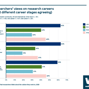 Chart showing researchers' views on research careers (percentage at different career stages agreeing)
