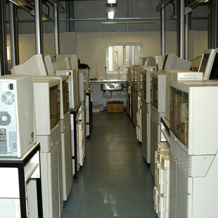 Early capillary sequencing machines from the late 1990s.