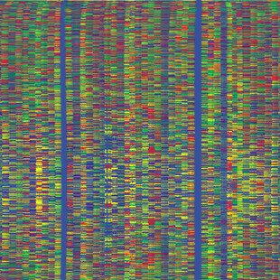 Coloured vertical lines showing the sequence of bases in a stretch of DNA