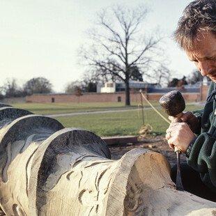 Sculptor Richard Bray working on a Turkey oak tree felled by lightning