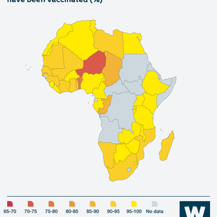 Map showing share of people in different Africa countries whose children have been vaccinated