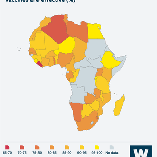 Map showing share of people in different African countries who agree that vaccines are effective