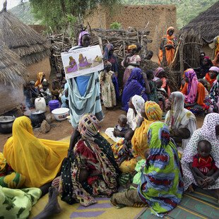 A health educator talks to women about mother and child healthcare in a village in Chad.