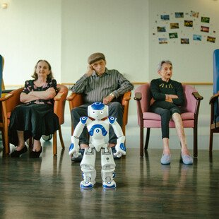 Zora the Robot Care-Giver helps people with communication and provides comfort and entertainment in a healthcare setting in France.