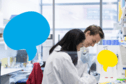 A male and female researcher working at a lab bench next to two illustrations of speech bubbles.