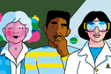 Illustration of a three researchers in front of a green and blue background.