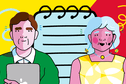 Illustration of a male and female researcher in front of a notepad on a yellow and red background.