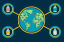 Illustration of the world with four vaccine vials around the edge.