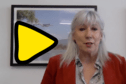 Portrait of Amanda Solloway next to a yellow illustrated triangular play button