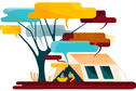 Two people talking under a huge tree which has speech bubbles instead of branches and leaves. Illustration.