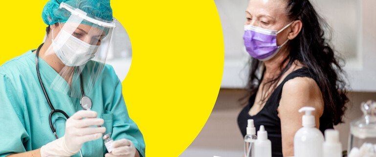 Female doctor in protective workwear putting syringe into vaccine vial to vaccinate senior female patient in protective face mask. Composite image.