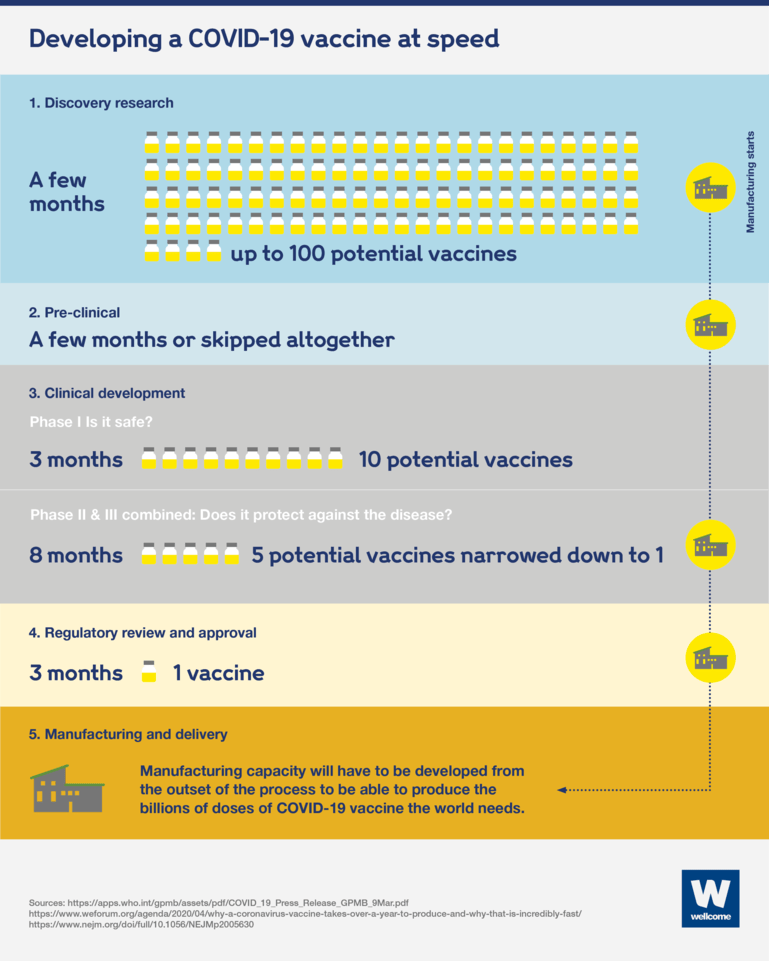 Graphic showing the five stages of developing a Covid-19 vaccine at speed.