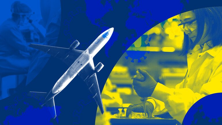 An airplane fly horizontally up from left to right, sitting on a blue background. On the right a woman in a lab coat is seen pipetting solution.