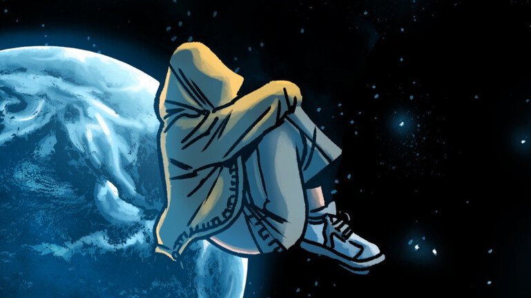 Illustration from Planet DIVOC-91 showing a young person floating in space.
